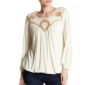 Free People Begonia Blouse Sand Boho Embroidered m